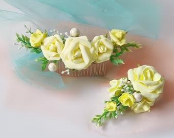 garden rose clips yellow wedding clips hair vine flower pins yellow flower clips silk garden rose Yellow Clip set flower headpiece