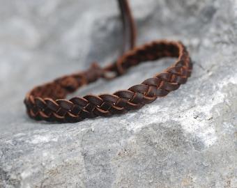 Adjustable Size Leather Bracelets for Men or Women 1 Brown Leather Tie Bracelet Brown Leather and Cotton Cord Unisex Multistrand