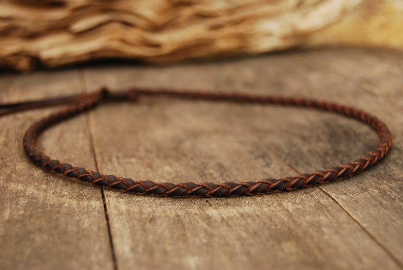 Leather choker For men Rustic braided leather necklace braided by hand Round braid of 4-strands women and children 1st quality leather