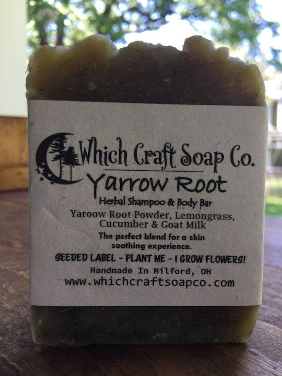 Yarrow Root - Herbal Shampoo & Body Bar - 100% Zero Waste Packaging - Label's are seeded paper and grow flowers when planted.