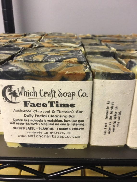 FaceTime - Activated Charcoal and Turmeric Facial Bar. 100% Zero Waste Packaging - Label's are seeded paper and grow flowers when planted.