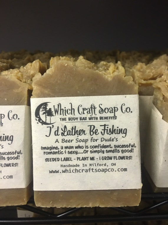 I'd Lather Be Fishing - Hemp & Beer Soap - 100% Zero Waste Packaging - Label's are seeded paper and grow flowers when planted.