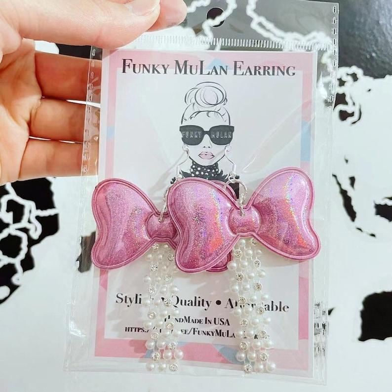 Funky Pinky Shiny Bow Earring