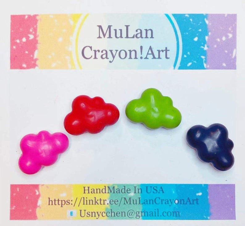 Design  the set of colors cute cloudy shape personalized Crayons !!!