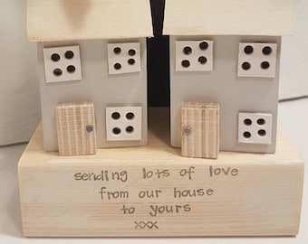 Driftwood cottages, gift, lockdown, gift for a loved one, missing you, Love you, handmade, little wooden house