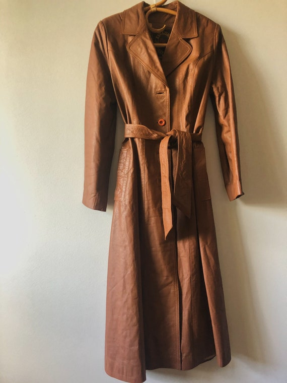 Vintage 70's ESPAGNA Leather trench coat - image 2