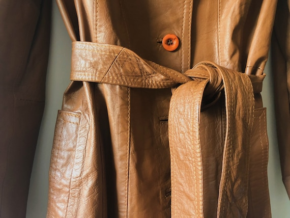 Vintage 70's ESPAGNA Leather trench coat