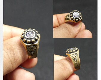 Gold Berber Ring, Antique Moroccan Ring With Chevron, Berber Jewelry Amazigh Tuareg Ring, Free people jewelry Women Men Brass Sahara jewelry