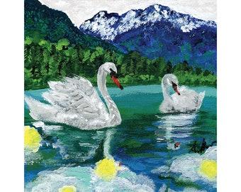 Couple/'s Wedding Gift Impressionist Wildlife Art Fairytale Swan Painting Nature Lover Unique Vintage Frame