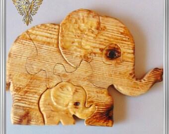 Elephants, Wooden Puzzle, Kids, Wooden Toys