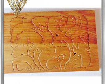 Animal puzzle, wooden magic, children's puzzle