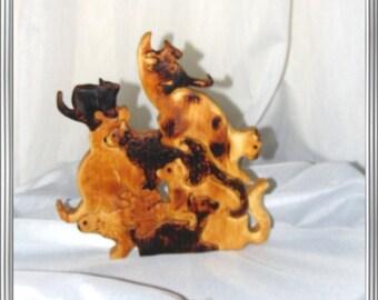 Cat puzzle in wood