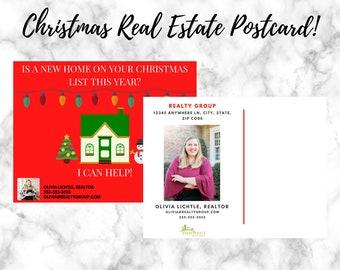 Real Estate Christmas Postcard | Holiday Post Card | Real Estate Postcard Template | Real Estate Template | Postcard | Real Estate Marketing