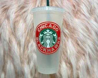 Chicago Blackhawks Cup | Blackhawks Fan | Blackhawks Gift | Custom Starbucks Cup |