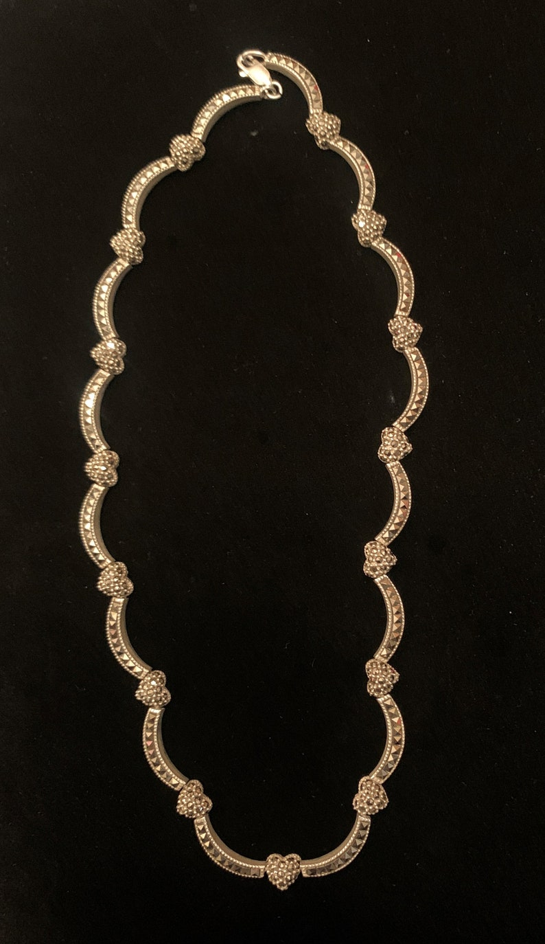 Gorgeous Judith Jack signed vintage sterling silver marcasite necklace with hearts and waves and a lobster clasp.