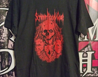 Scrimm Bloody Gore, Demonic Cannibal Death. Head hunter, tribal, sacrifice, Horror movie, black shirt, screen print.