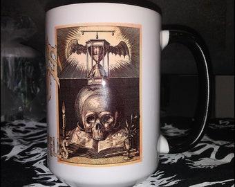 Hounds Of Doom: Evil Spells 15oz. Ceramic coffee mug. Travel mug, water bottle, tumbler, flask, coffee, grounds, caffeine, witch craft