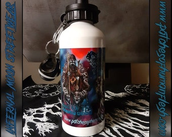 Dedicated To All Things Horror & Metal 20oz water bottle. Very nice, smooth and glossy finish for all your beverage needs.