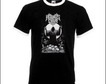 The Necromancer black and white Ringer T Shirt. From my Hounds Of Doom line of streetwear.