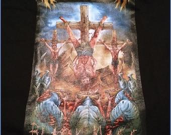 Scrimm Bloody Gore: Black Mass Inversion black gildan t shirt. Pullover, short, sleeve, cotton, horror, heavy metal, full color occult