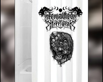 Infernal Moon white shower curtain. Logo and design.