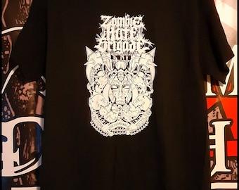Zombie Hate Brigade screen printed t shirt.