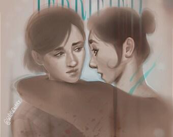 They Should be Afraid   Waysen Art   5 x 7 print   The Last of Us, Sapphic Art, Lesbian Art