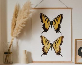 Swallowtail Butterfly print | Butterfly print | Yellow butterfly print | Butterfly art print | Dorm decor