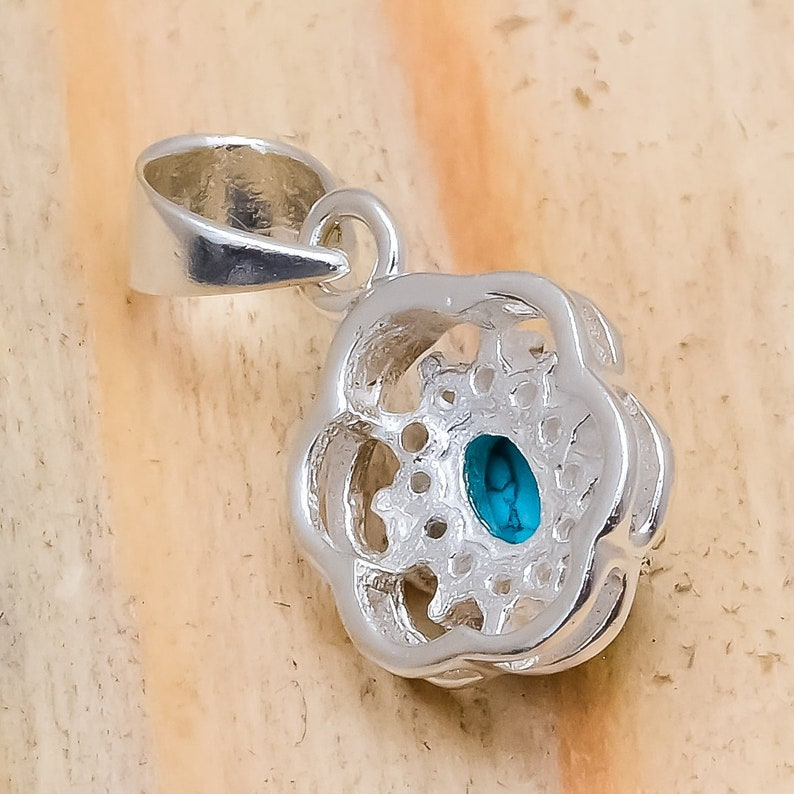 Pendant          Free Shipping White Turquoise Natural Gem Stones Pendant 925 Sterling Silver Handmade jeweler