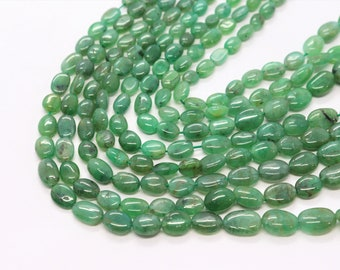 ON SALE Natural Beryl Emerald Oval Plain Smooth Beads 6x9mm to 9x11mm Strand 8 inch long Beads Wholesale prices jewelry making gemstone Bead