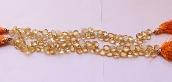 citrine Faceted Side drill Beads citrine Briolette Faceted heart Beads AA Quality