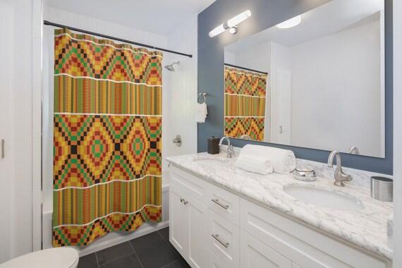 Kente Shower Curtains African Bathroom, African Bathroom Decor