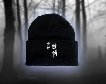 Spooky Haunted Hat Embroidered Skull Hat Gothic Skull Beanie Hat Halloween Skull Beanie Black and White Cuffed Beanie