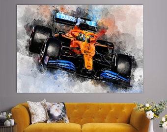Lando Norris 2021 Car Canvas Print, Formula 1 Wall Art, Canvas Wall Art, F1 Fan Gift, Sports Wall Art, Lando Norris Fan Gift, Norris Poster