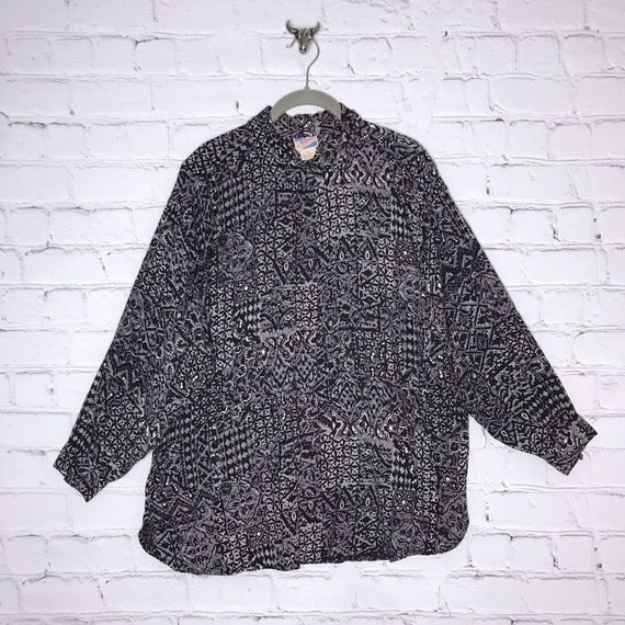 Vintage 70's 80's Gray Rayon Button Down Indian B… - image 8