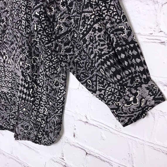 Vintage 70's 80's Gray Rayon Button Down Indian B… - image 5