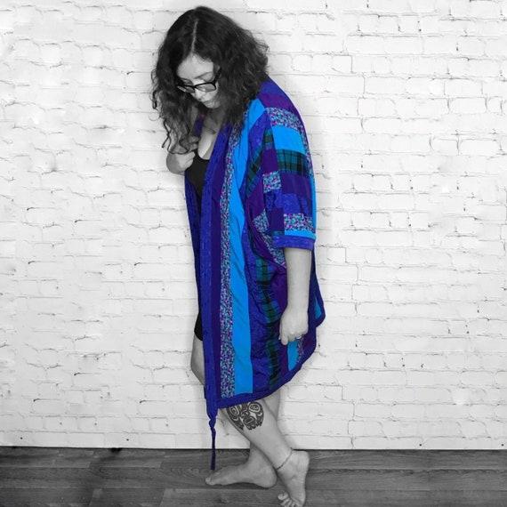 Vintage 1990's Blue Patchwork Robe Cocoon Style Ki