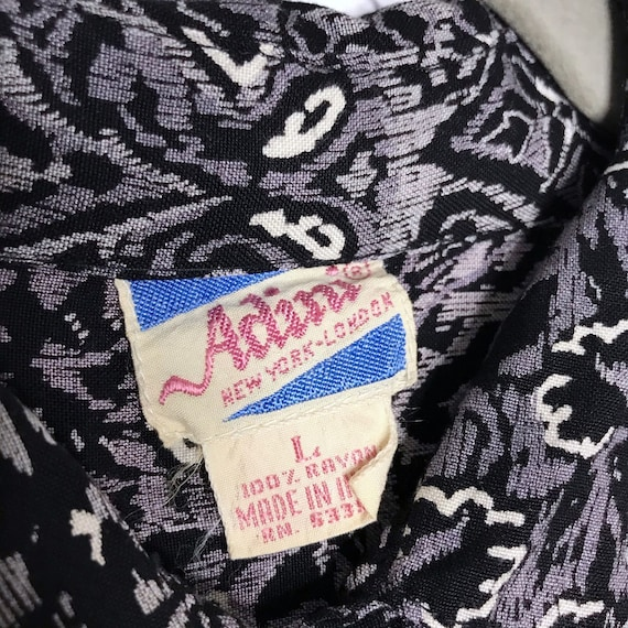 Vintage 70's 80's Gray Rayon Button Down Indian B… - image 4