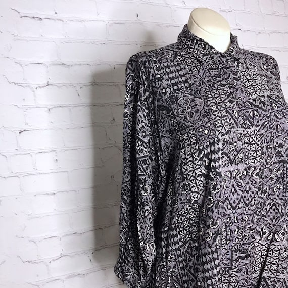 Vintage 70's 80's Gray Rayon Button Down Indian B… - image 2
