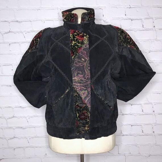 Vintage 1990's Black Leather Velvet Jacket Grunge