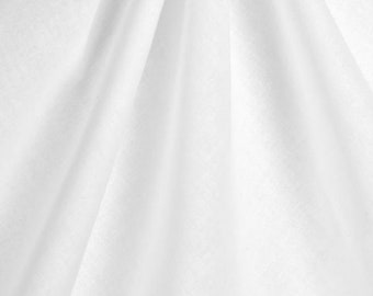 Natural Muslin Cotton Fabric By The Yard or Fat Quarter in Bleached White or Natural Unbleached