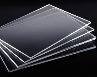 """Sheets of Clear Cast Acrylic/Plexiglass in 1/8""""  (3 mm) Thickness for Picture Frame Repair, Signs, Blanks, Laser Engraving, Glowforge DIY"""