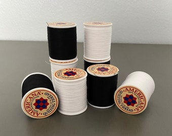 Black, White, Navy Thread 100% Cotton Glazed Quilting Thread on Spool for Sewing Machine DIY Craft Projects