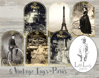 NEW Paris Marie Antoinette Gift Favour Tags Let Them Eat Cake-French Vintage