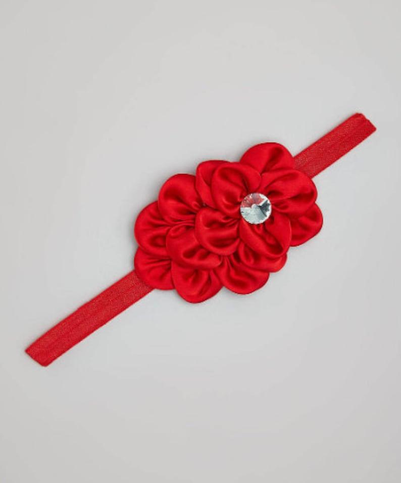 Toddler headband Summer spring headband Satin Ruffle Rhinestone Flower Headband Baby Headband Red White Hot pink Cream headband