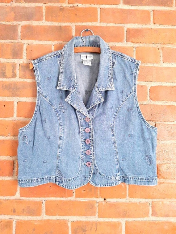 Vintage Embroidered Vest, Vintage Denim Vest