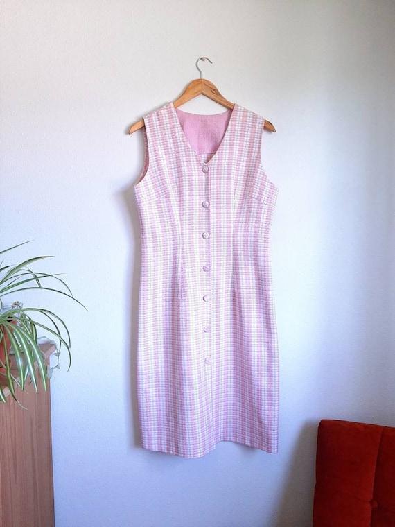 Vintage Plaid Dress, Pink Sleeveless Dress