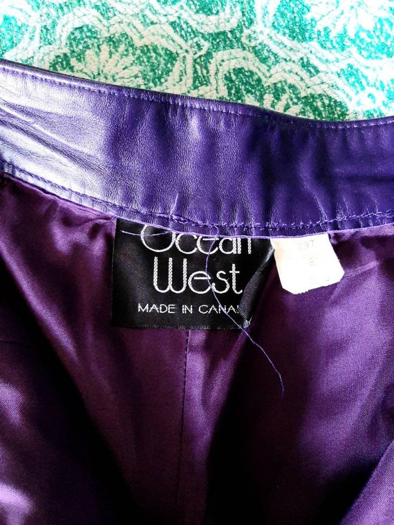 RESERVED Vintage Leather Shorts, Purple Ladies Sh… - image 4