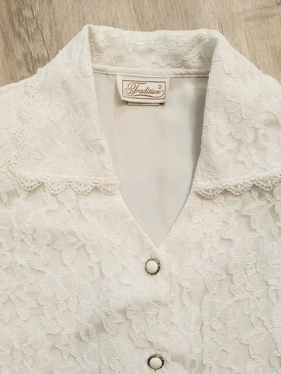Vintage Lace Blouse, White Lace Blouse - image 2