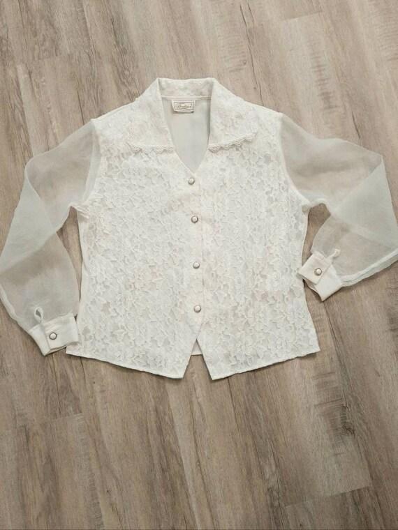 Vintage Lace Blouse, White Lace Blouse